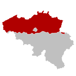 Localização da Flandres no mapa da Bélgica