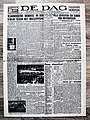 "Voorpagina Vlaams dagblad ""De Dag"" 20 April 1943.jpg"