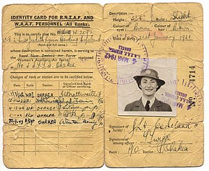 New Zealand Women's Auxiliary Air Force - Identity card of WAAF Judith Copeland, 1943.