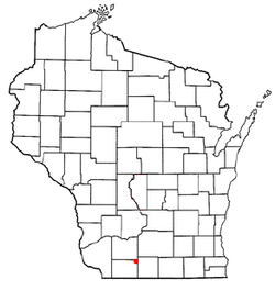 Location of Blanchardville, Wisconsin