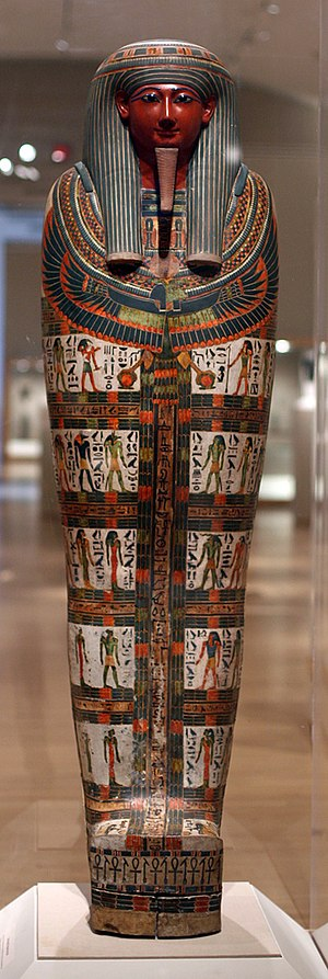 Cartonnage - Cartonnage of Nespanetjerenpere, ca. 945–718 BCE. Linen or papyrus mixed with plaster, pigment, glass, lapis lazuli, 69 11/16 in. (177 cm). Brooklyn Museum, 35.1265.