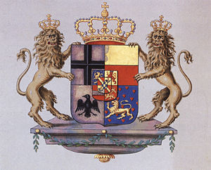 Principality of Nassau-Orange-Fulda - Coat of arms with supporters