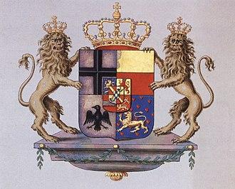 Principality of Nassau-Orange-Fulda - Coat of arms with supporters