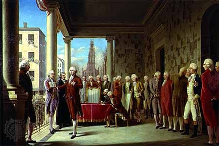 April 30: First President of the United States, George Washington, elected. Washington's Inauguration.jpg