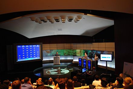 Employees demonstrating IBM Watson capabilities in a Jeopardy! exhibition match on campus, 2011 Watson Jeopardy demo.jpg