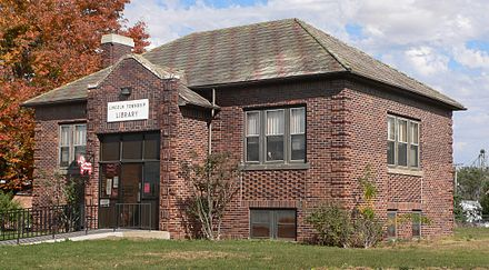Lincoln Township library in Wausa. Note the Dala horse hanging beside the door. Wausa, Nebraska library from SW.JPG