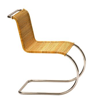 "Deutscher Werkbund - ""Weißenhof chair"", by Mies van der Rohe with canework upholstery by Lilly Reich (ca. 1927)"
