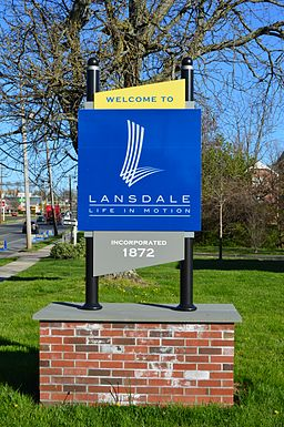Welcome sign in Lansdale, Pennsylvania.jpg