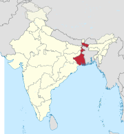 West Bengal in India (disputed hatched).svg
