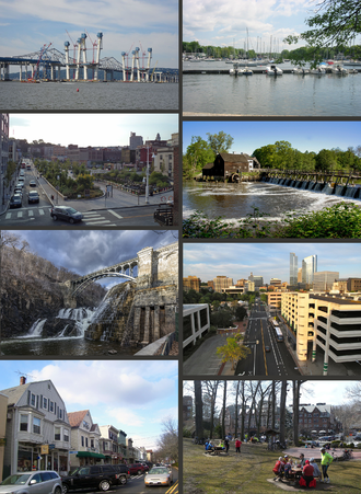 Westchester County, New York - Clockwise from top: The Tappan Zee Bridge and replacement; Mamaroneck Harbor; Philipsburg Manor; downtown White Plains; downtown Scarsdale; shops in Katonah; the New Croton Dam; Getty Square in Yonkers