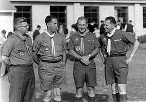 Béla H. Bánáthy - Joe St. Clair, Fran Peterson, Maury Tripp, and Béla H. Bánáthy at the White Stag Leadership Development Program Indaba held at Fort Ord, California, during November 1962. These four men, along with Paul Sujan, helped develop new junior leader training and Wood Badge programs that for the first time focused on leadership skills, not Scoutcraft leadership skills.