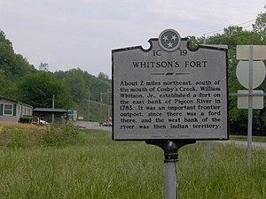 Cosby, Tennessee - Historical marker recalling the site of Whitson's Fort