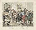 Wijsgeer houdt een redevoering voor een slapend publiek Den Zedelyke en Zinnelyke Mensch (titel op object) Karikaturen van de maatschappij rond 1800 (serietitel), RP-P-OB-86.777.jpg