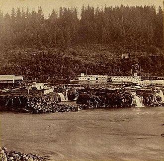 Willamette Falls - Willamette Falls boat basin in 1867, photograph by Carleton Watkins