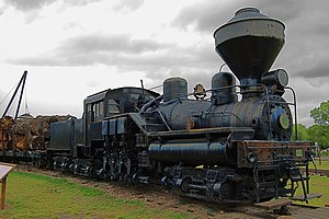 Willamette locomotive - Willamette Locomotive no. 7, on static display at the Fort Missoula Museum.