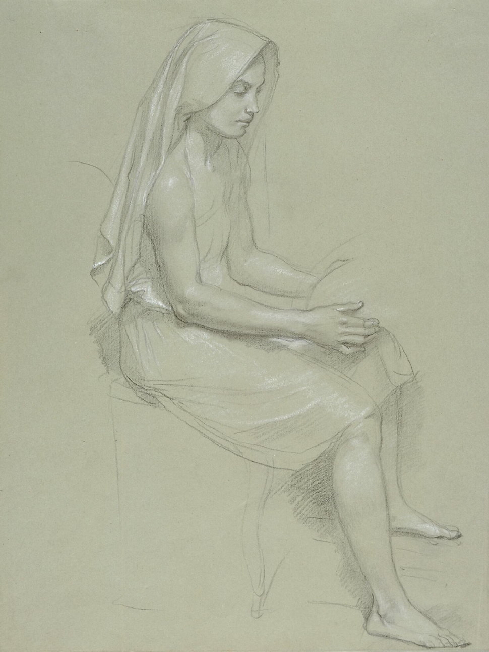 William-Adolphe Bouguereau (1825-1905) - Study of a Seated Veiled Female Figure (19th Century)