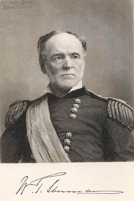 1888 photograph by Napoleon Sarony used in the second edition of Sherman's Memoirs, 1889. This photo also served as a model for the engraving of the first Sherman postage stamp issued in 1893. William-t-sherman photo vy Sarnoy.jpg