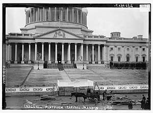 63rd United States Congress - Inauguration platform being constructed on the east steps of the U.S. Capitol, ten days before Woodrow Wilson's March 4, 1913, presidential inauguration.