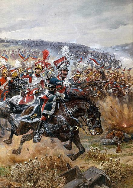 Richard Caton Woodville - Charge of Polish chevau-legers at Leipzig (1813) Woodville Richard Caton - Poniatowski's Last Charge at Leipzig 1912.jpg