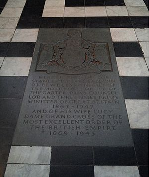 Lucy Baldwin - Worcester Cathedral, grave of the 1st Earl Baldwin of Bewdley and his wife Lucy, née Ridsdale