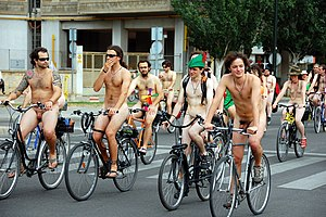 World Naked Bike Ride - Zaragoza and Vancouver hosted the first NBR. Pictured are participants in the 2009 WNBR in the Spanish city.