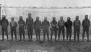 World War I, British soccer team with gas masks, 1916