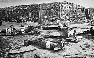 Italian Libya - Wrecked Italian aircraft at the destroyed Castel Benito airport in Tripoli in 1943.