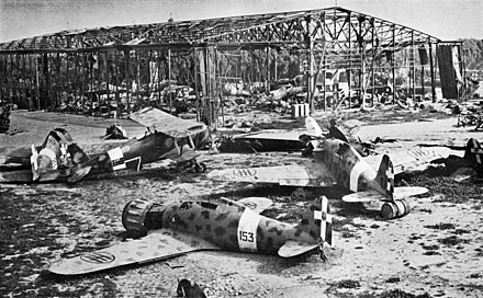 Wrecked Italian aircraft at the destroyed Castel Benito airport in Tripoli in 1943. Wrecked Italian aircraft at Tripoli 1943.jpg