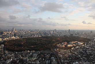 Yoyogi Park - Yoyogi Park and Meiji Shrine as seen from above