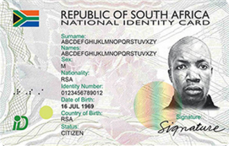 South African identity card - South African Smart Card (front)