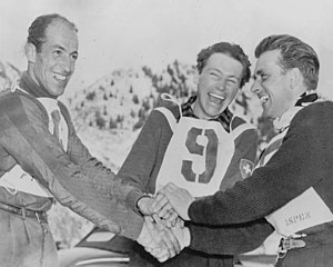 FIS Alpine World Ski Championships 1950 - Left-right: Zeno Colò, Fernand Grosjean and James Couttet after the giant slalom competition