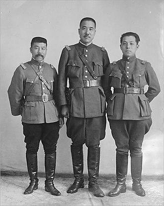 Warlord Rebellion in northeastern Shandong - Chu Yupu (left) with Zhang Zongchang (middle) and the de facto ruler of Manchuria, Zhang Xueliang (right)