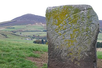 """Rhynie, Aberdeenshire - The """"Craw Stane"""", a Pictish symbol stone depicting a salmon and an unknown animal"""