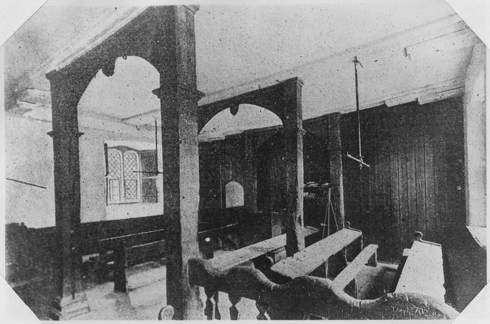 """""""View of classroom at Eton College, England, showing plainess of the furniture and names carved thereon by the... - NARA - 298013"""