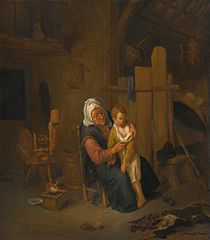 An Old Lady with a Young Boy, in an Interior