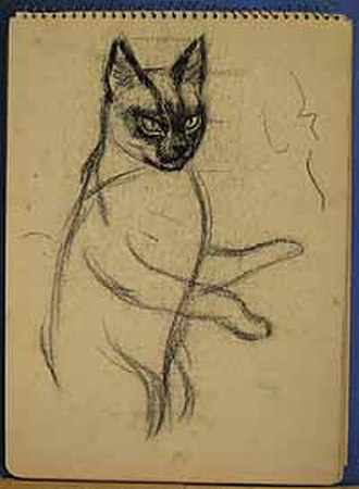 Brian Stonehouse - Image: 'Sleek grey cat' concentration camp drawing by Brian Stonehouse