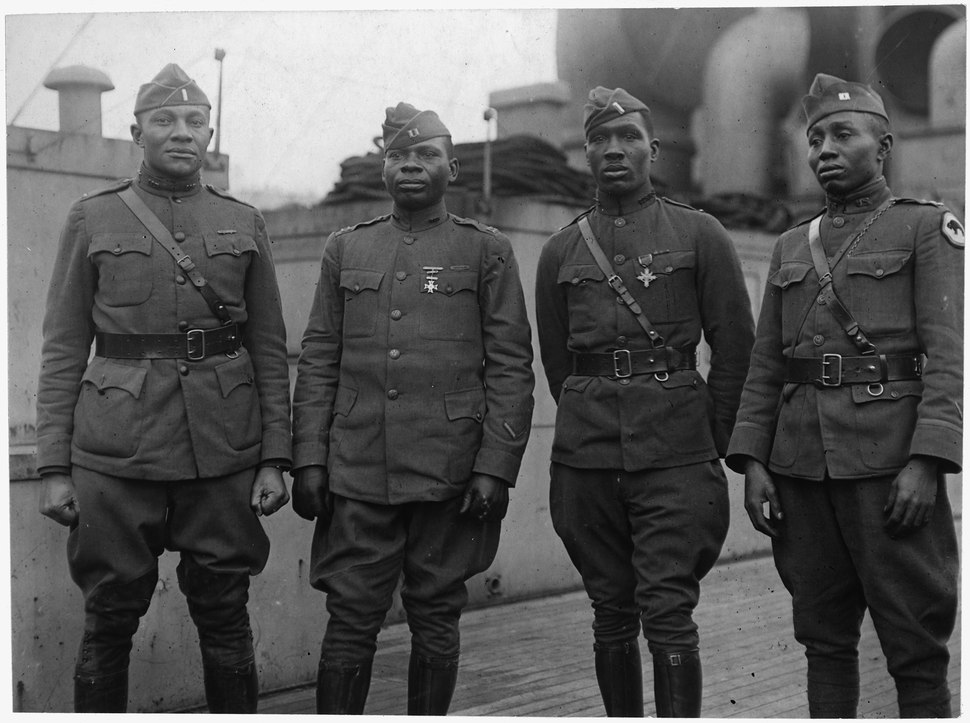 (African American) Officers of 366th Infantry Back on Aquitania. These officers, all of whom ha . . . - NARA - 533490