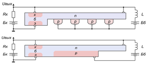 Invention of the integrated circuit - Johnson's integrated generator (1953; variants with lumped and distributed capacitances). Inductances L, load resistor Rk and sources Бк и Бб are external.