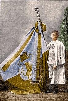 Наймолодший путник Нусьо Дорожинський з паломницьким прапором.jpg