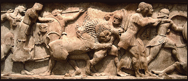 Frieze of the Siphnian Treasury, Delphi, depicting a Gigantomachy, c. 525 BC, Delphi Archaeological Museum