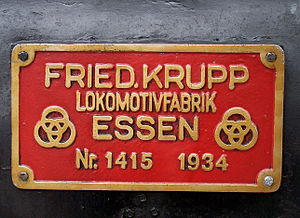 DRG Class 01 - Manufacturer's plate of 01 118 of the Frankfurt Historic Railway