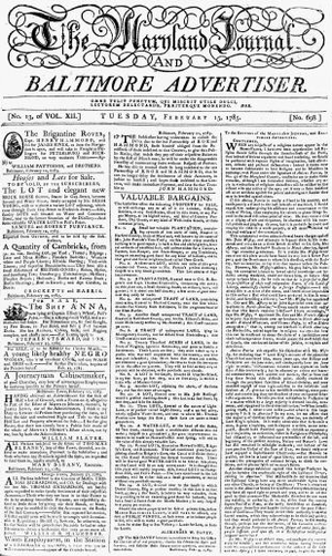 William Goddard (U.S. patriot/publisher) - Image: 1785 Maryland Journal Feb 15