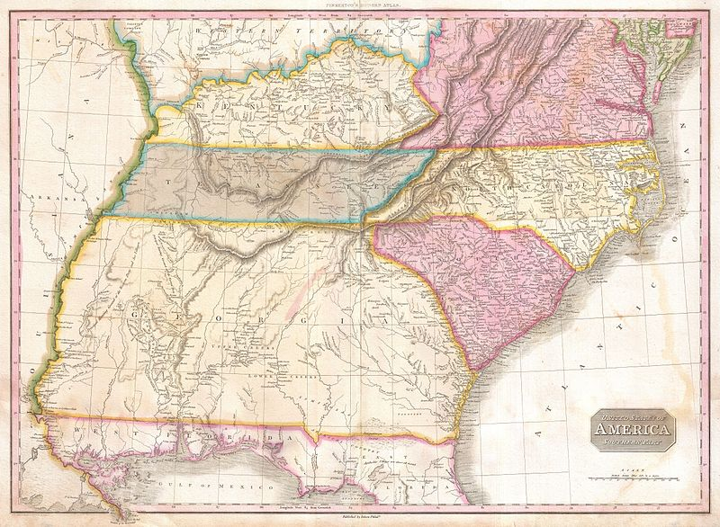 File:1818 Pinkerton Map of the Southeastern United States, Carolina, Georgia, Virginia - Geographicus - USASouthernPart-pinkerton-1818.jpg
