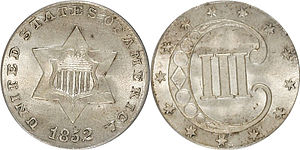 Three-cent piece (United States coin) - Image: 1852 3 Cent Silver Type 1