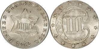 Three-cent piece - Image: 1852 3 Cent Silver Type 1