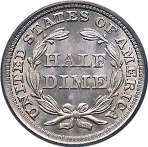 United States Seated Liberty coinage - Reverse of 1857 Seated Liberty Half Dime