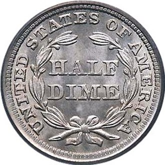 United States Seated Liberty coinage - Reverse of the Seated Liberty Half Dime.