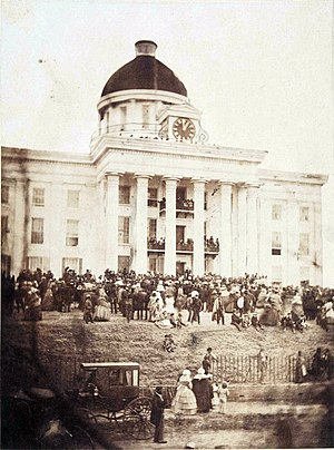 Alabama Legislature - Jefferson Davis being sworn in as President of the Confederate States of America on February 18, 1861, on the steps of the Alabama State Capitol.