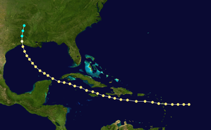 1865 Atlantic hurricane season - Image: 1865 Atlantic hurricane 4 track