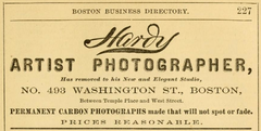 1879 Hardy photographer advert 493 Washington Street in Boston.png
